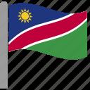 country, flag, nam, namibia, namibian, pole, waving