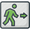 exit, find, sign, wayfinding icon