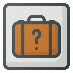 find, left, luggage, office, sign, wayfinding icon