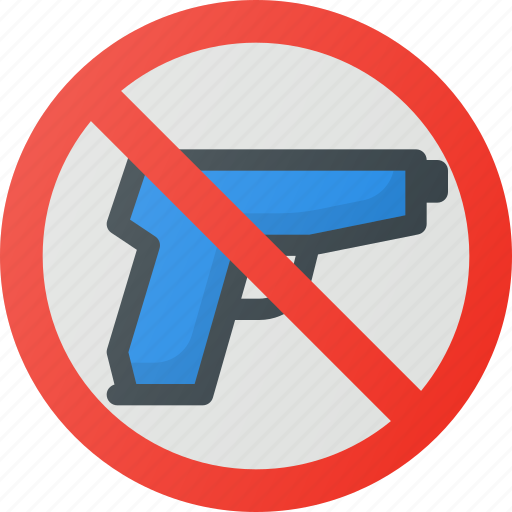 find, guns, no, sign, wayfinding icon