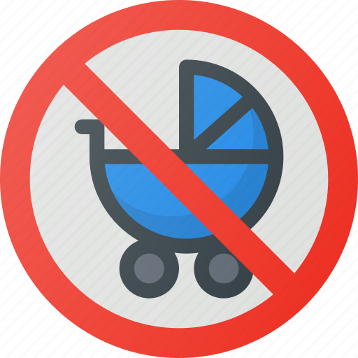 allowed, find, no, pram, sign, wayfinding icon