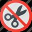 find, no, scissors, sign, wayfinding icon