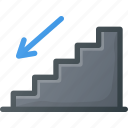 down, find, sign, stairs, wayfinding icon