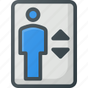 elevator, find, map, sign, wayfinding icon