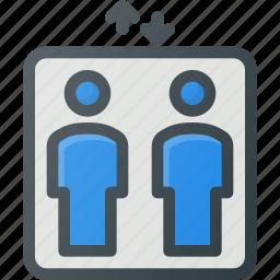 elevator, find, map, sign, wayfinding icon