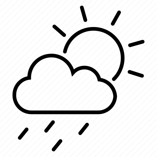 cloudy, drizzle, light rain, rain, raining, sunshower icon