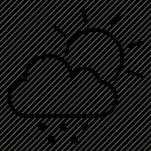 cloud, daytime, forecast, hail stones, snow, sun icon