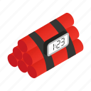 bomb, detonation, dynamite, isometric, timer, violence, weapon icon