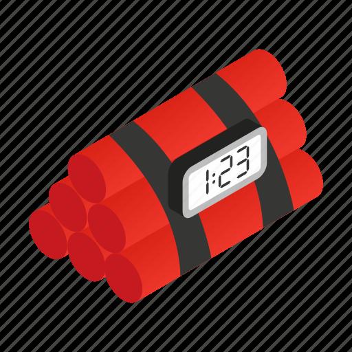 bomb, detonation, dynamite, isometric, timer, violence, weapon icon