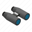 binoculars, discovery, isometric, looking, nobody, sky, vision icon