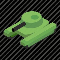 army, gun, isometric, military, tank, transportation, war icon