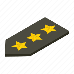 isometric, military, officer, rank, shoulder, straps, white icon