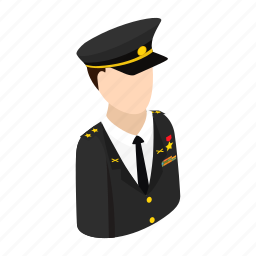 army, character, hat, isometric, man, officer, uniform icon