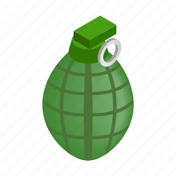bomb, explosion, grenade, hand, isometric, military, weapon icon