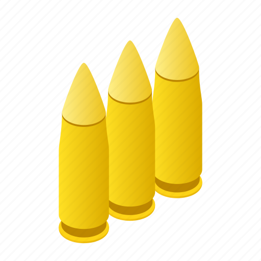 Isometric, weapon, violence, metal, gun, bullets, ammunition icon