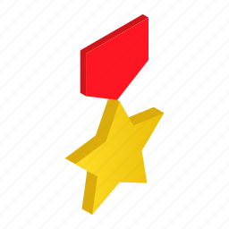 award, gold, honor, isometric, medal, order, star icon