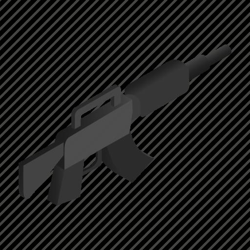 gun, isometric, m16, machine, military, shot, weapon icon