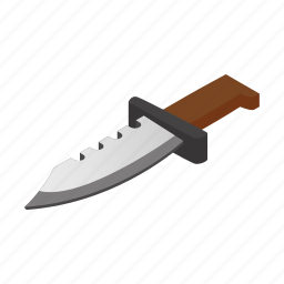 dagger, hunting, isometric, knife, military, security, weapon icon