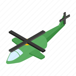 aircraft, chopper, fly, helicopter, isometric, military, rotor icon