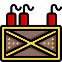 bomb, color, crate, dynamite, explosive, weapon, weaponry
