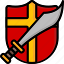 and, color, shield, sword, ultra, weapon, weaponry icon