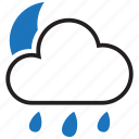 cloud, forecast, night, rain icon