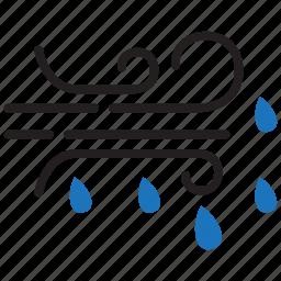 rain, wind, windy icon