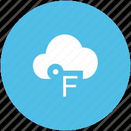 cloud, degree, degrees, fahrenheit, fahrenheit cloud, fahrenheit degree, temperature icon