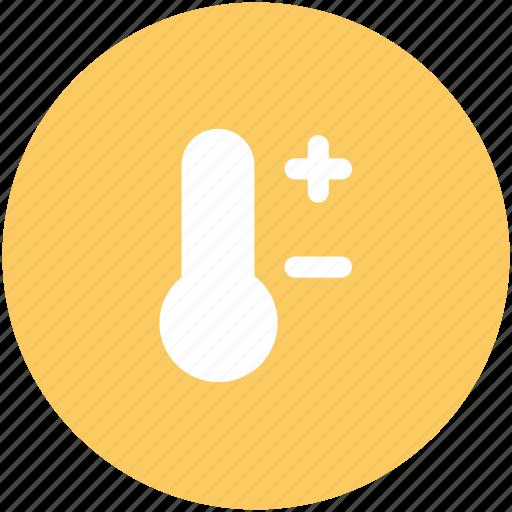 celsius, cold, hot, minus sign, plus sign, temperature, thermometer icon