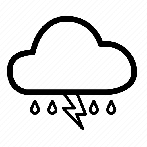 bad weather, climate, cloud, lightning, rain, weather, weather rain icon