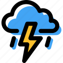 coloud, forecast, lightning, rain, storm, thunder, weather icon