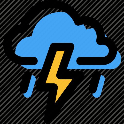 coloud, forecast, lightning, rain, storm, thunder, weather icon