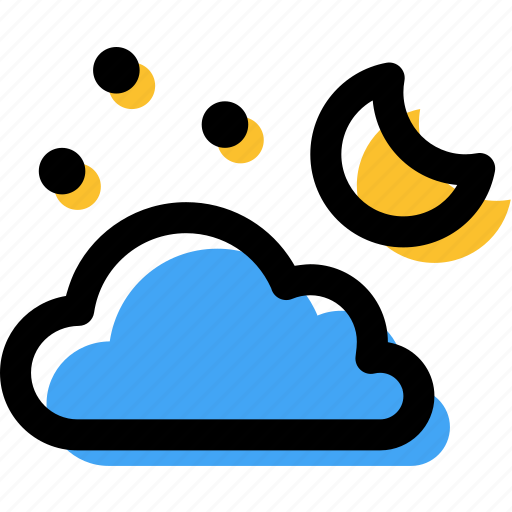 cloud, cloudy, moon, night, stars, weather icon