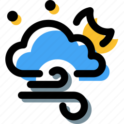 bad weather, cloud, forecast, night, wind, windy icon