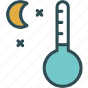 celsius, cold, heat, moon, night, stars, temperature icon