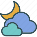 clouds, moon, weather icon