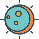 eclipse, heat, moon, night, solar icon