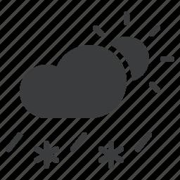 cloud, daytime, forecast, rain, sleet, snow, sun icon