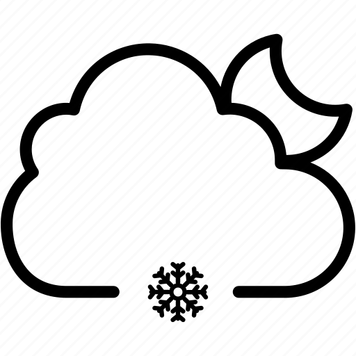 cloud, ice, moon, night, snow, snowflake, weather icon