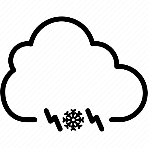 cloud, cloudy, electricity, light, snow, thunder, weather icon