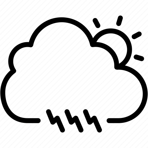 cloud, day, electricity, light, sun, thunder, weather icon