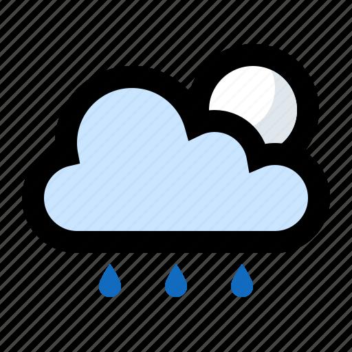 cloud, cloudy, drizzle, moon, night, rain, raining icon