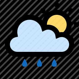drizzle, partly cloudy, rain, raining, sun, sunny icon