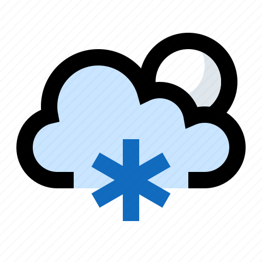 cold, frosty, icy, moon, night, snow, snowing icon