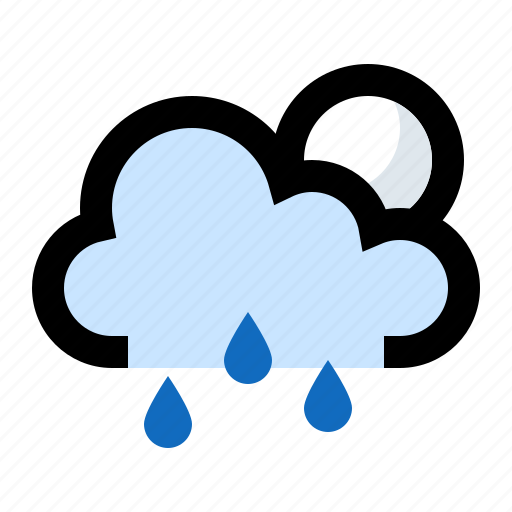 cloud, cloudy, forecast, moon, night, rain, raining icon