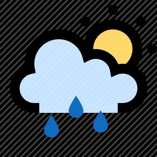 cloud, forecast, partly cloud, rain, raining, sun, sunny icon