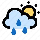 cloud, cloudy, rain, raining, showers, sun, sunny icon