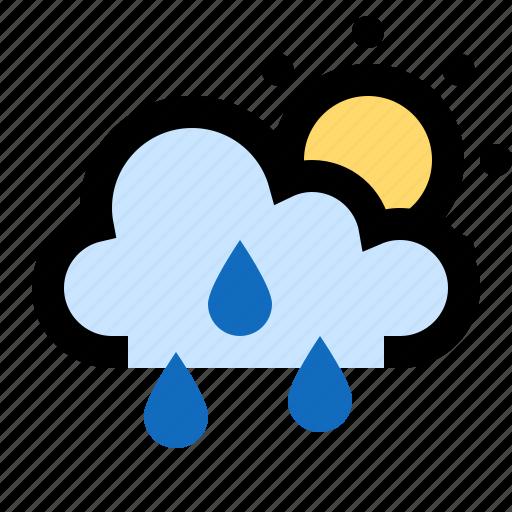 cloud, cloudy, rain, raining, showers, sun, sunny icon