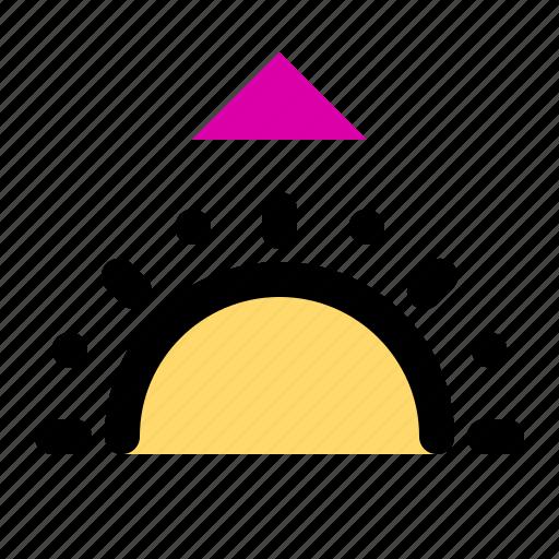 day, forecast, landscape, morning, sun, sunrise, weather icon