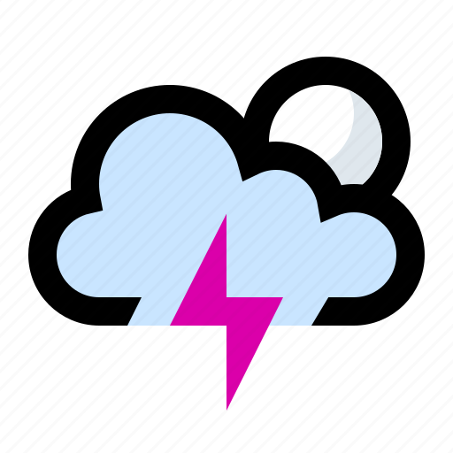 lightning, lightning bolt, lightning strike, night, storm, thunder, thunderbolt icon